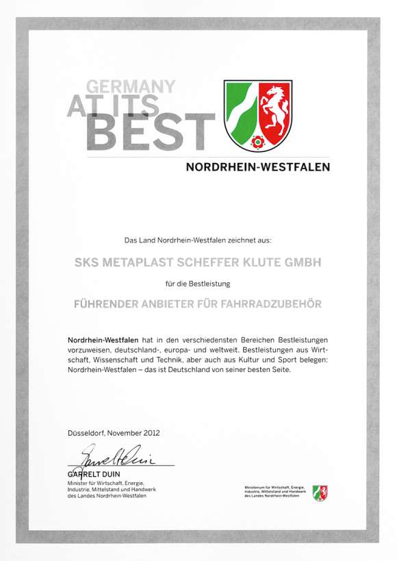 SKS Germany receives distinction from the state of North Rhine-Westphalia